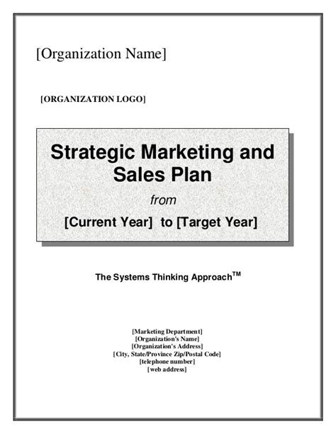 sales and marketing plan template free strategic marketing sales plan template