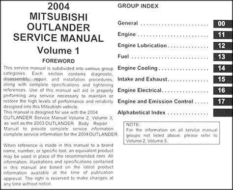 book repair manual 2004 mitsubishi outlander auto manual 2004 mitsubishi outlander service manual original set