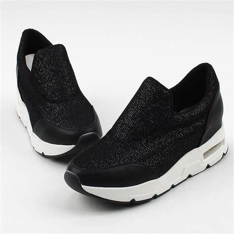Platform Mesh Slip On Sneakers s synthetic glitter mesh net thick air platform slip
