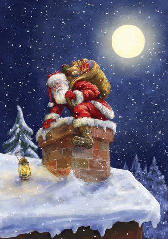 rooftop reindeers pause  jumps good  santa claus    chimney