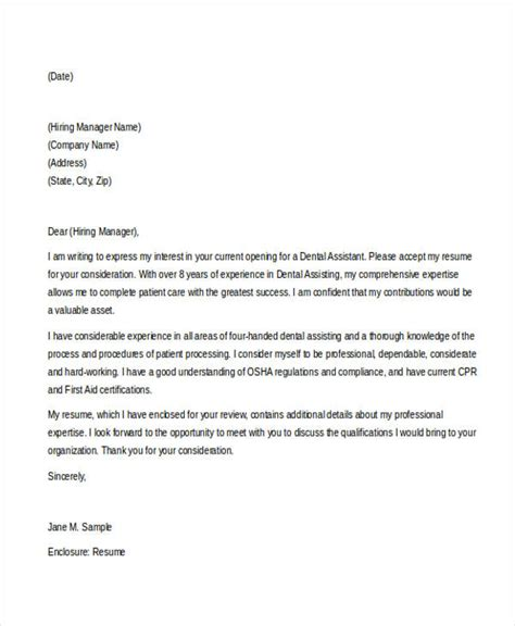 cover letter for dental assistant 46 free cover letter sles free premium templates