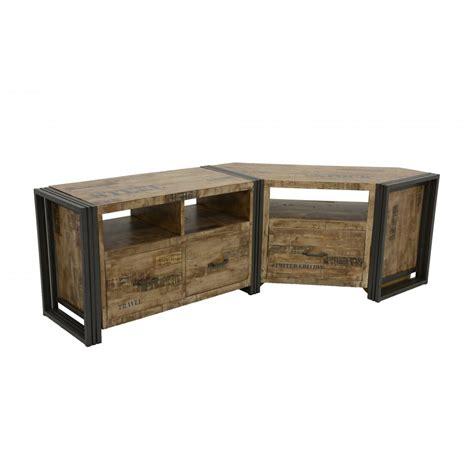 meuble tv d angle bois recycl 233 blanchi et m 233 tal noirci 1