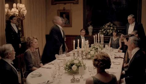 downton dinner downton abbey mini cap holy sh t someone vomited blood