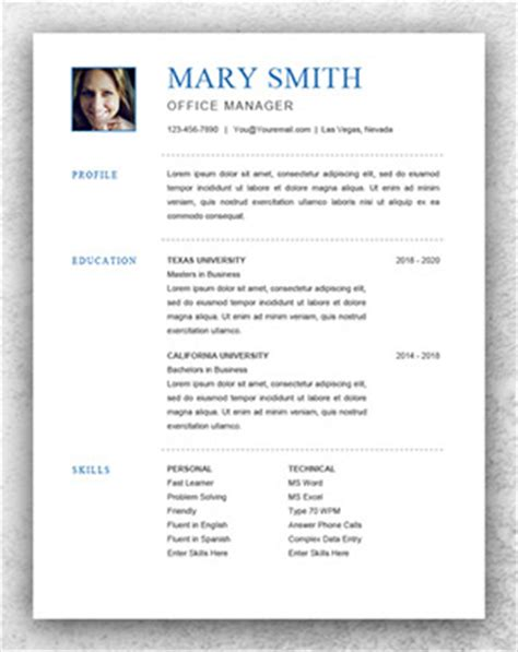 reume templates personal resume template word resume template start