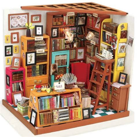 the doll house shop robotime diy doll house the book shop dollhouse miniature 3d led furniture kit light