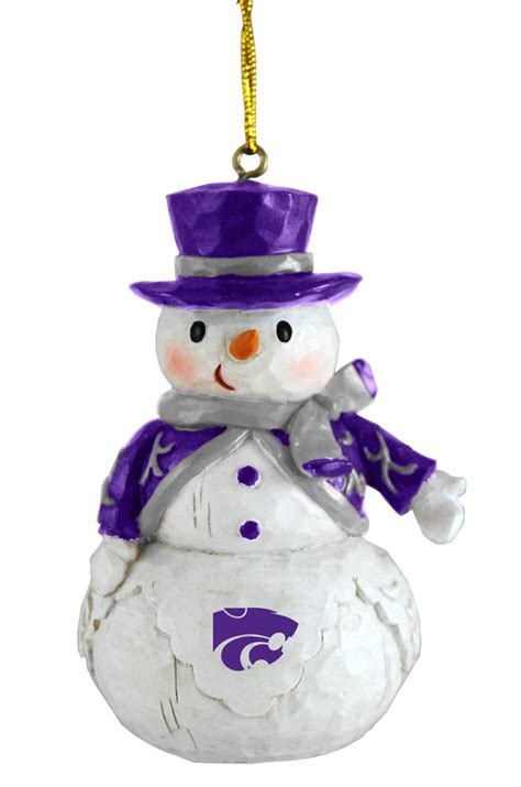 kansas state wildcats woodland snowman christmas ornament