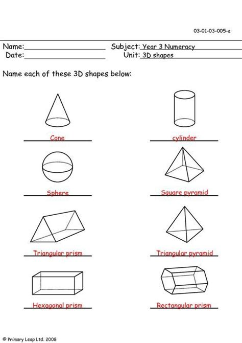 shapes worksheets year 5 3d shapes worksheet year 2 shapes pinterest 3d