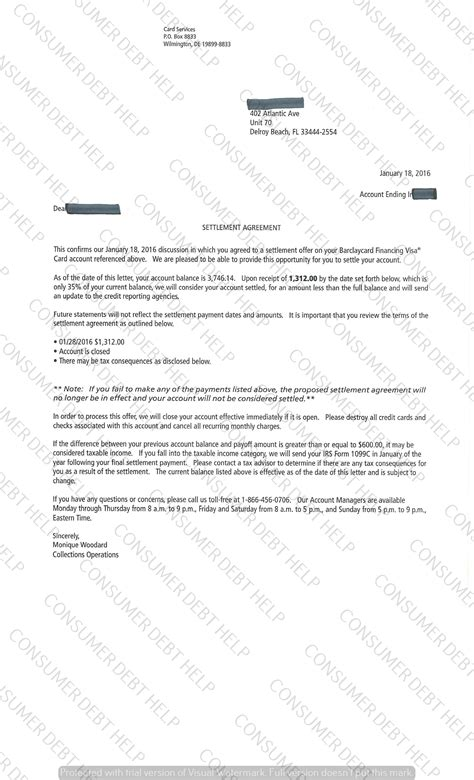 Barclays Letter Of Credit settlement letters from barclay s bank consumer debt