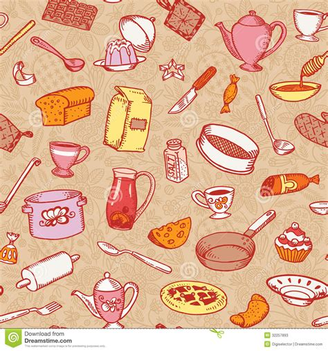 kitchen pattern background kitchen and cooking seamless pattern stock photos image