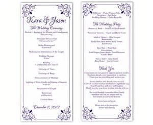 Diy Wedding Program Template by Wedding Program Template Diy Editable Text Word File