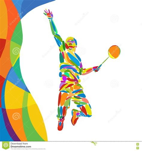 pattern more than badminton meaning abstract colorful pattern with badminton player stock