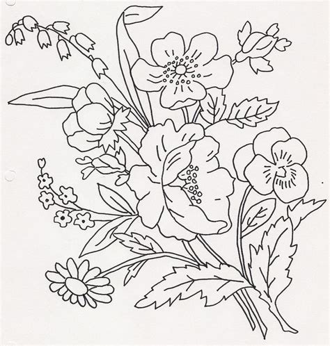 coloring pages of bunch of flowers drawn bouquet flower bunch pencil and in color drawn