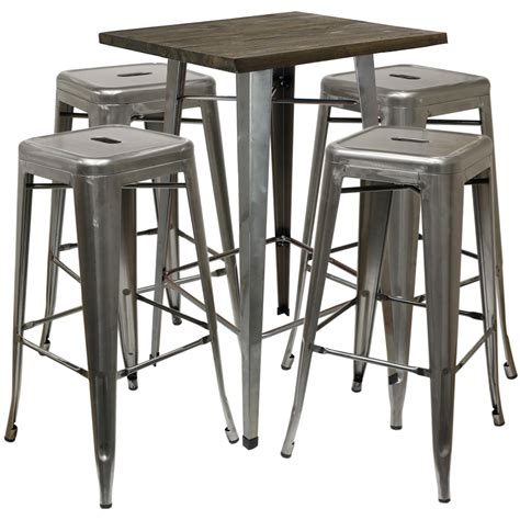 Wood Top Bar Stools by Hartleys Wood Top Industrial Square Bistro Table