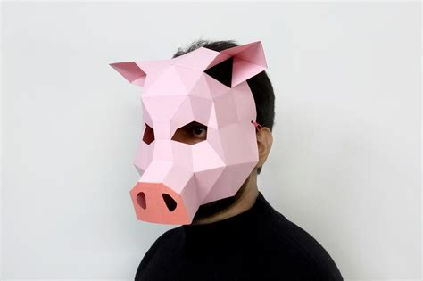 Pig Papercraft - diy pig mask 3d papercraft by paper amaze