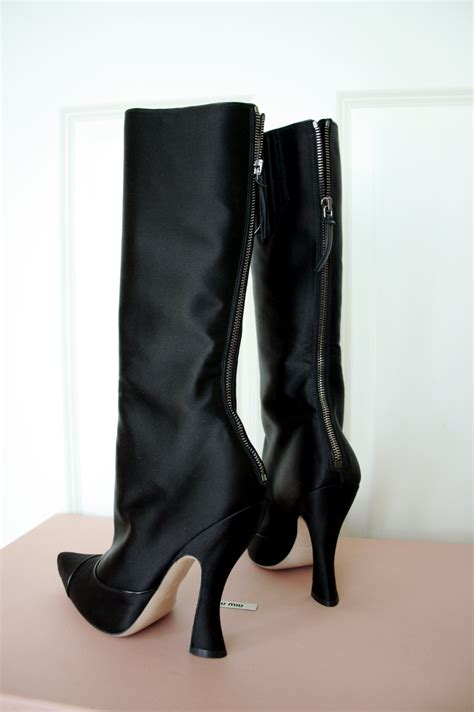Satin Leather Heels Import miu miu by prada black satin boots with pleated details