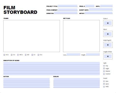 movie storyboard template 8 free sle exle