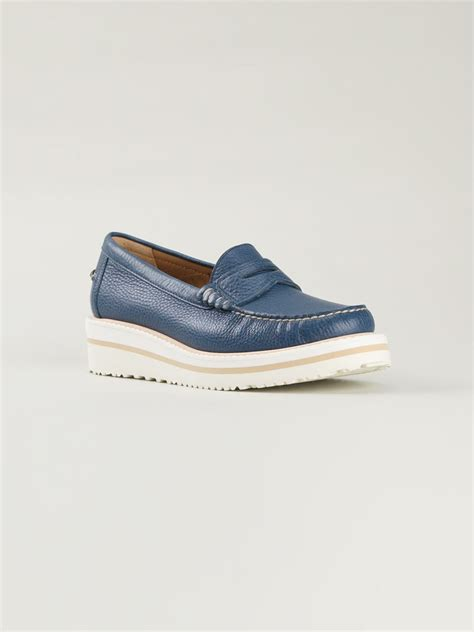 blue loafers santoni loafers in blue lyst