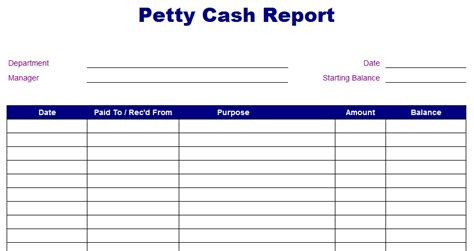 petty cash report template blue layouts