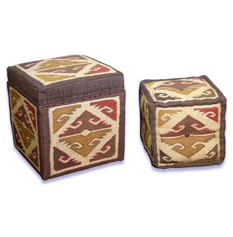 Kilim Storage Ottoman Hemlock Kilim Pattern Modern Rustic Olive Brown Valley Stool Ottomans Kathy Kuo Home