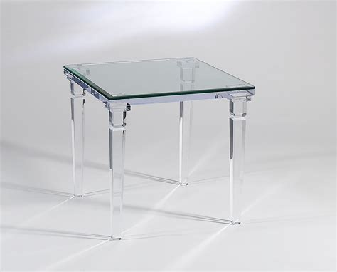 acrylic clear chateau end table with glass top
