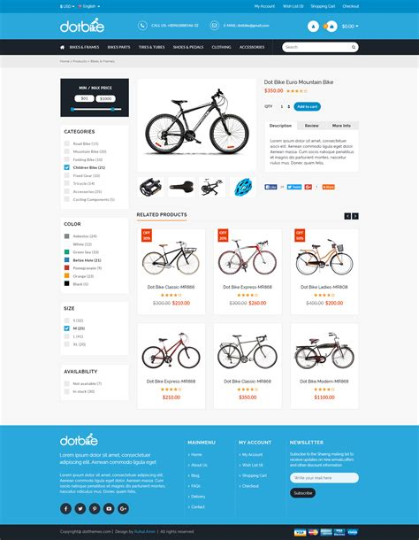 Dotbike Bicycle E Commerce Psd Template By Dot Themes Themeforest Single Product Ecommerce Website Template