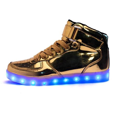 gold mens sneakers led shoes mens gold high top