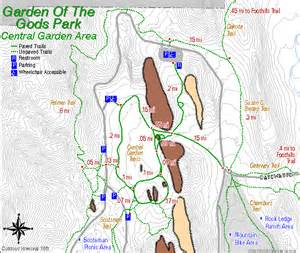 Garden Of The Gods Trail Map Central Garden Area Map Trail Mileage
