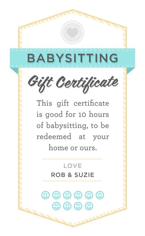 Baby Gift Card Template by Date Printable Babysitting Gift
