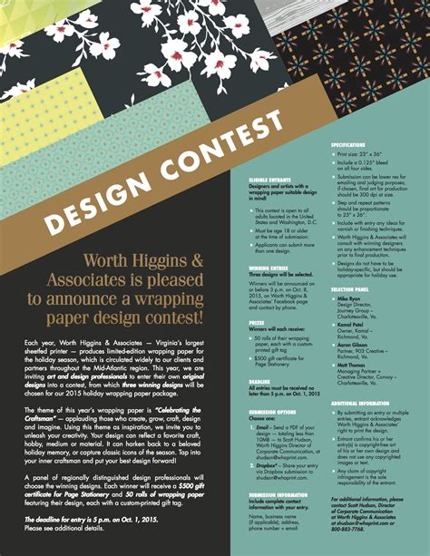 Photo Contest Flyer Template by 072015 Wha Wrapping Paper Contest Flyer Worth Higgins
