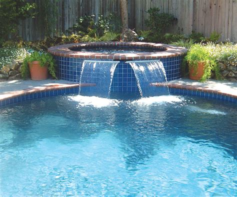 inground pool with waterfall sheer descent cascade jandy pro series