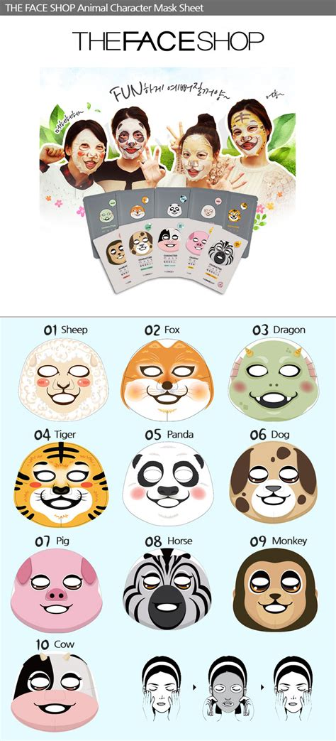 Masker The Faceshop Character Mask Sheet Pig Honey The Shop the shop animal character mask sheet 10 type choose 1 2 5 10 20ea ebay