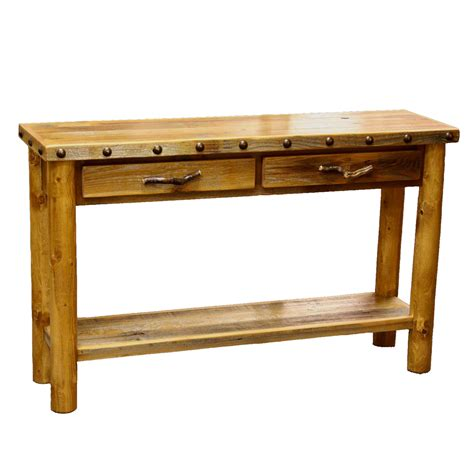 barnwood 2 drawer sofa table with shelf and nailheads