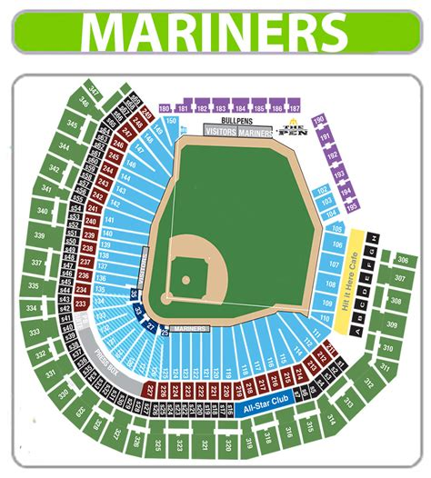 seattle mariners seating chart mariners seat chart view