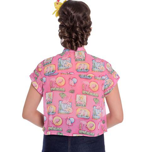 Flaminggo Top Ori Chi hell bunny 50s retro top pink flamingo maxine cropped blouse shirt all sizes ebay