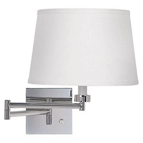chrome swing arm wall l white linen drum shade chrome plug in swing arm wall l