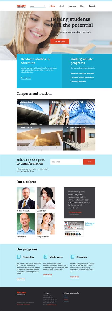 education website higher education website template