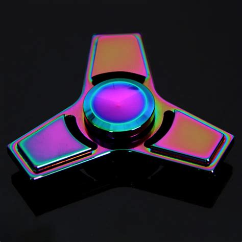 Fidget Spinner Metal Triangle Rainbow best tri fidget triangle spinners sale shopping cafago