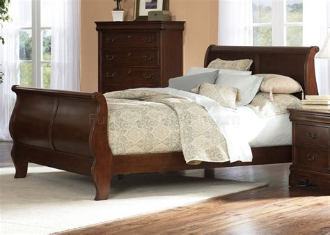 brown cherry finish traditional sleigh bed w optional