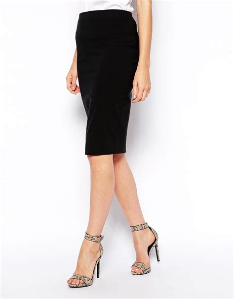 asos high waisted pencil skirt in black lyst