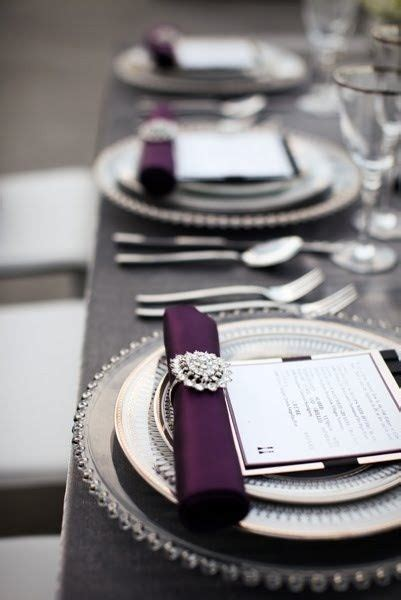 silver place settings gray and purple table setting place settings for wedding