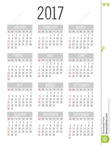 Calendrier 2017 Numéro De Semaine Poche De Vecteur Calendrier De 2017 Ans Illustration De