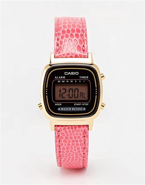 pink casio la670wegl 4aef mini pink leather digital
