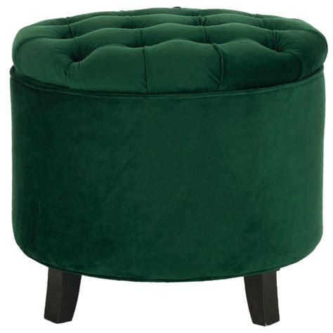 cotton ottoman safavieh amelia emerald oak cotton tufted storage ottoman