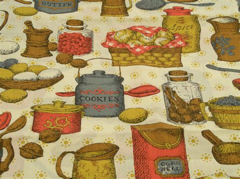 vintage kitchen curtain fabric vintage kitchen curtain fabric cluttered from revvie1 on etsy