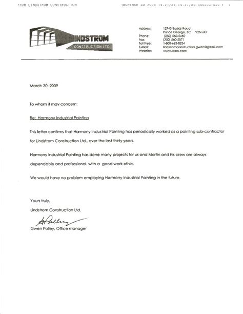 Reference Letter For Contractor Work Harmony Industrial Painting Customer Testimonials