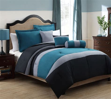 solid wood contemporary bedroom furniture with teal black