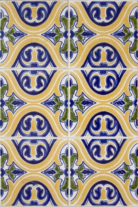 tile pattern wallpaper colorful yellow green blue spanish pattern tile wallpaper
