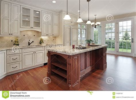 Kitchen Island Cherry Wood Kitchen With Cherry Wood Island Stock Photos Image 11826763