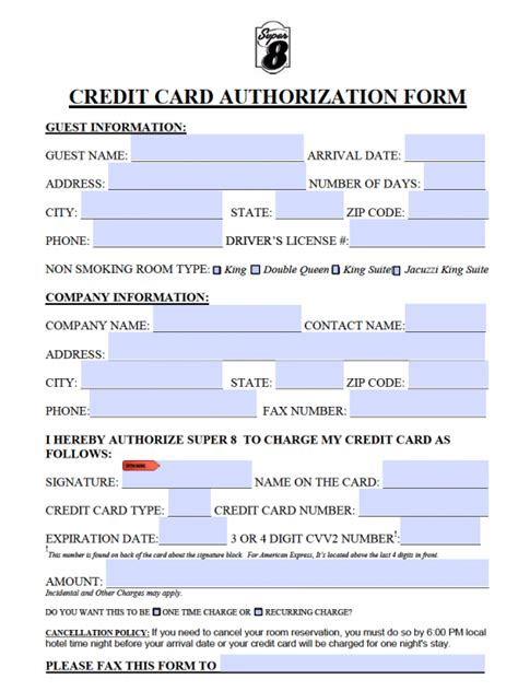 free super 8 motel credit card authorization form pdf