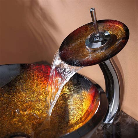 kraus mercury glass vessel and waterfall faucet kraus cgv68019mm10ch 17 inch mercury glass vessel